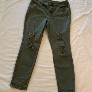 a.n.a. Olive Green Distressed Jegging